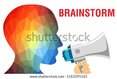 Brainstorm  concept background. Brainstorm head with Creative idea text, 3D rendering. Business team data analyzing document during discussion explain strategy meeting. on start-up project idea