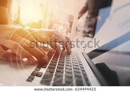 brainstorm teamwork meeting concept,businessman using mobile phone and digital tablet and laptop computer in modern office with virtual icon diagram