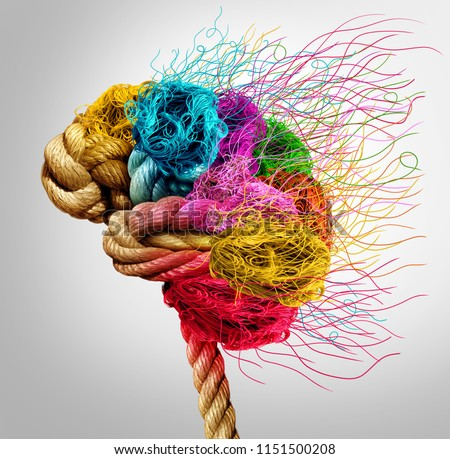 Brainstorming and brainstorm concept or psychology symbol as a creative human mind made of rope and thread in a 3D illustration style.