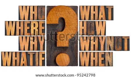 brainstorming or decision making concept - who, what, where, when, why, how, whatif and why not questions - a collage of isolated words in vintage letterpress wood type