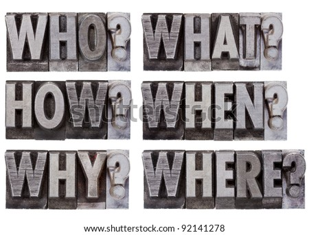 brainstorming or decision making questions - who, what, where, when, why, how - a collage of isolated words in vintage, grunge, metal letterpress printing blocks