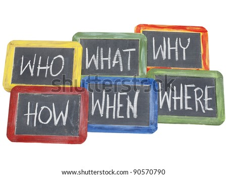 brainstorming questions - what, when, where, why, how, who  - white chalk handwriting on vintage slate blackboards in colorful wood frames