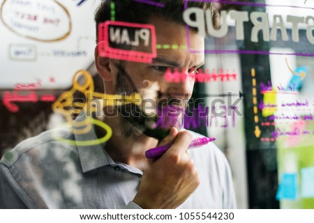 Brainstorming startup ideas on a window #1055544230