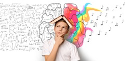 Brainwork Concept. School Boy Thinking Holding Book On Head Standing Over White Background With Brain Halves. Collage, Panorama