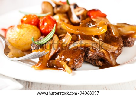Braised Lamb With Roasted Squash And Onion Sauce Recipe — Dishmaps
