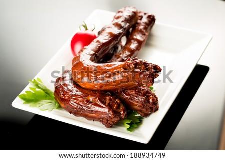 Braised duck necks, Chinese cuisine.