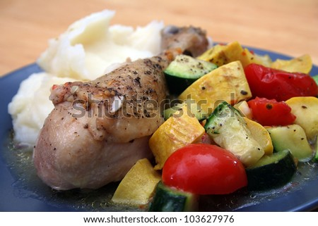 Braised Mediterranean Chicken Drum Stick With Mashed Potatoes and Mixed Vegetables
