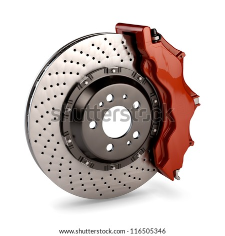 Brake Disc and Red Calliper from a Racing Car isolated on white background