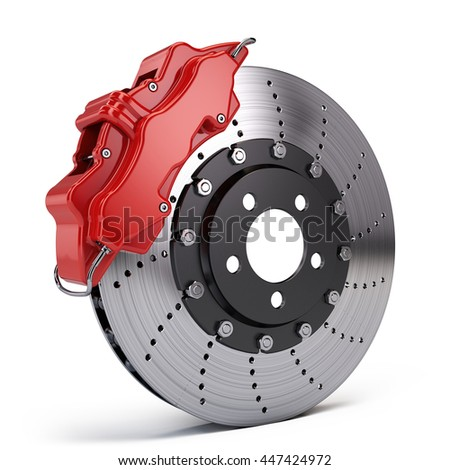 Brake Disc with Red Sport Racing Calliper isolated on white. 3d rendering