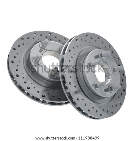 Brake Discs isolated on white background 3d render