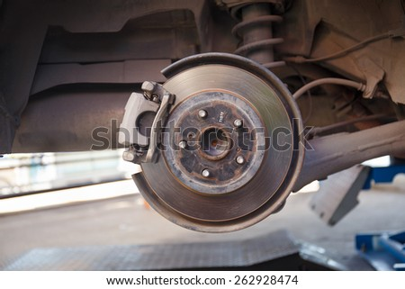 brake disk and detail of the wheel hub. #262928474