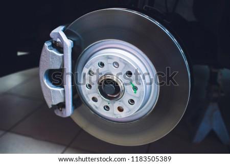 Brake disk and detail of wheel hub #1183505389