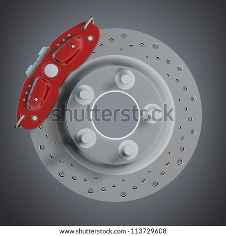 brake disk with a red support. High resolution 3d render