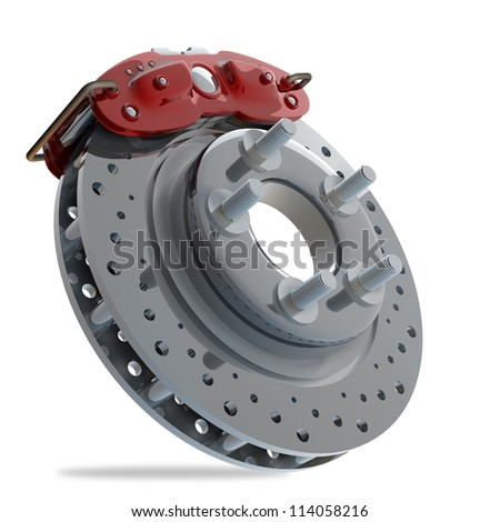brake disk with a red support. isolated on white background High resolution 3d render