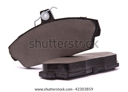 Brake pads on a white background