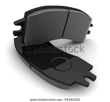 Brake pads on white background (done in 3d)