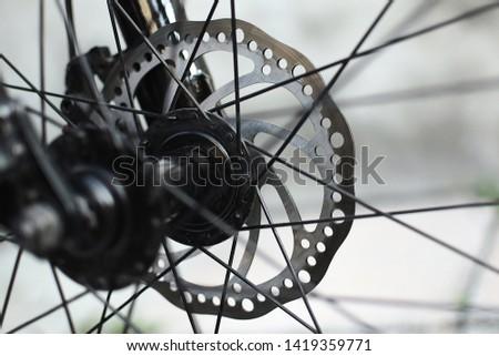 Brake system of a bicycle. Disks, blocks.