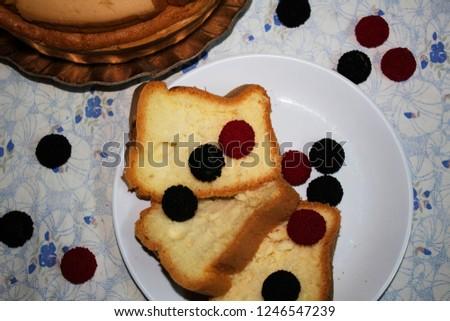 Brakfast cake on table.