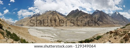 Braldu River Valley Panorama, Karakorum Mountains, Pakistan