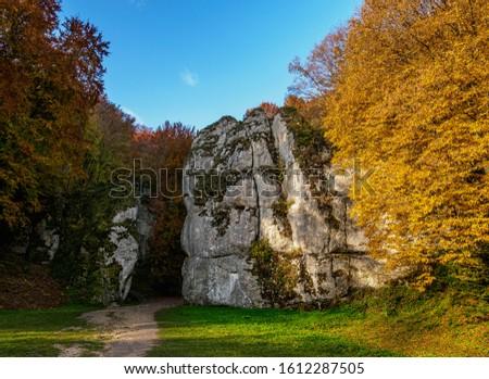 Brama Krakowska Rock Formation, Ojcow National Park, Krakow-Czestochowa Upland or Polish Jurassic Highland, Lesser Poland Voivodeship, Poland Zdjęcia stock ©