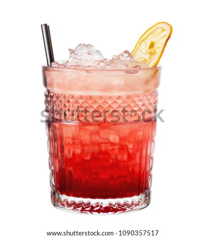 Bramble. Alcohol cocktail isolated on white background