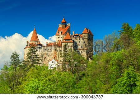 Bran castle and summer landscape,Transylvania,Romania