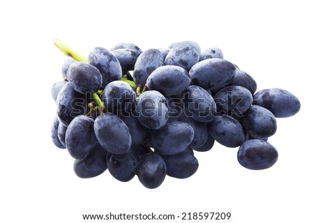 Branch of blue grapes isolated on the white #218597209