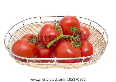 Branch of cherry tomatoes isolated on white background