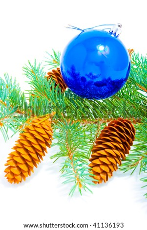 Branch of coniferous tree with cone and glass ball on white