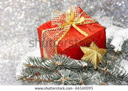 branch of spruce in frost and Christmas balls - stock photo