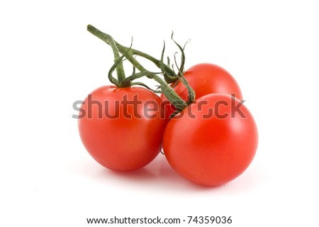 branch of the three cherry tomatoes on a white background