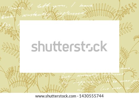 Branch of wild plant Vicia cracca. Hand drawn flowers and plants teamplate horizontal cards. Handwritten abstract text wallpaper. Imitation of a abstract vintage lettering. Botany, vintage flowers.