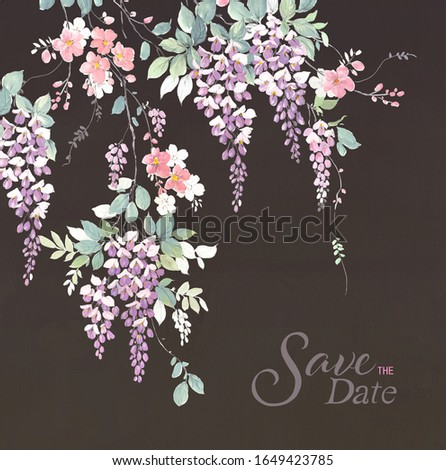 Branch of wisteria. Hand draw watercolor illustration.Can be used for Floral poster, invite. Vector decorative greeting card or invitation design background