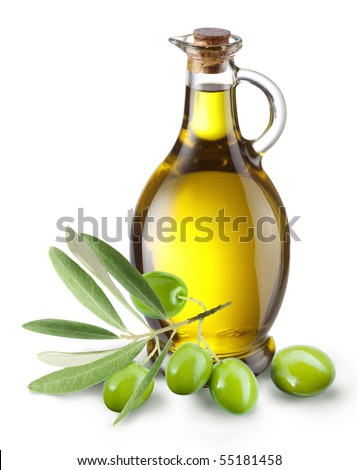 Branch with olives and a bottle of olive oil isolated on white - stock photo