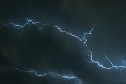 Branched lightning in the sky over the Great Plains, USA.