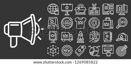 Brand icon set. Outline set of brand icons for web design isolated on gray background