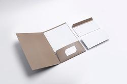 brand identity design set mockup: folder, business cards, envelope