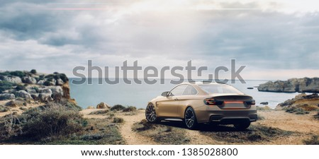 Brand less gold luxury car, rear panoramic view (with grunge overlay), tail lights detail - outdoor studio - 3d illustration