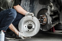 Brand new brake discs for garage cars. Auto mechanic,in process of new tire replacement, Car brake repairing in garage