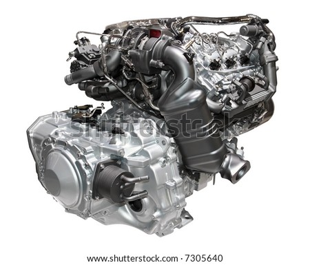 Brand new car engine isolated on white