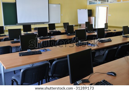 brand new computer with tft monitor in modern classroom at school