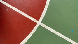 Brand new empty outdoor basketball court terrain as seen in sports facilities