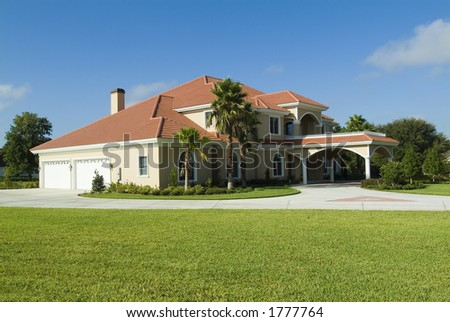 Brand new Florida home with Spanish tile roof