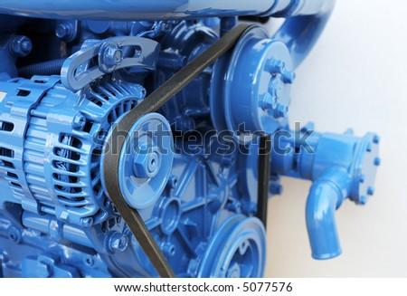 Brand new 60hp marine diesel engine. Short depth-of-field.