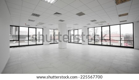 brand new interior of office with white walls