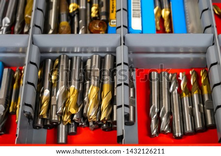 Brand new milling tools in a tool box