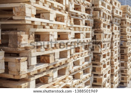 Industrial wooden pallets, wooden planks, close-up  Images
