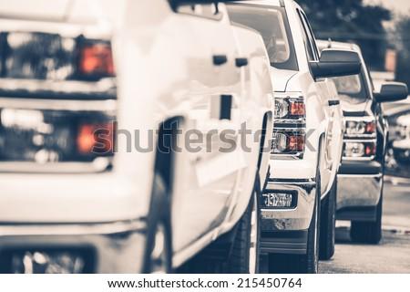 Brand New Pickup Trucks For Sale. Cars Row on the Dealer Lot.