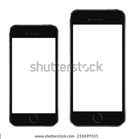 Brand new realistic mobile phone black smartphone in iphon style in two sizes, mockup with blank screen isolated on white background