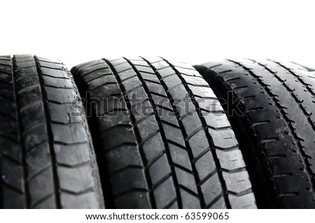 Brand new tires stacked up  Secondhand recycle crop naomal view isolate